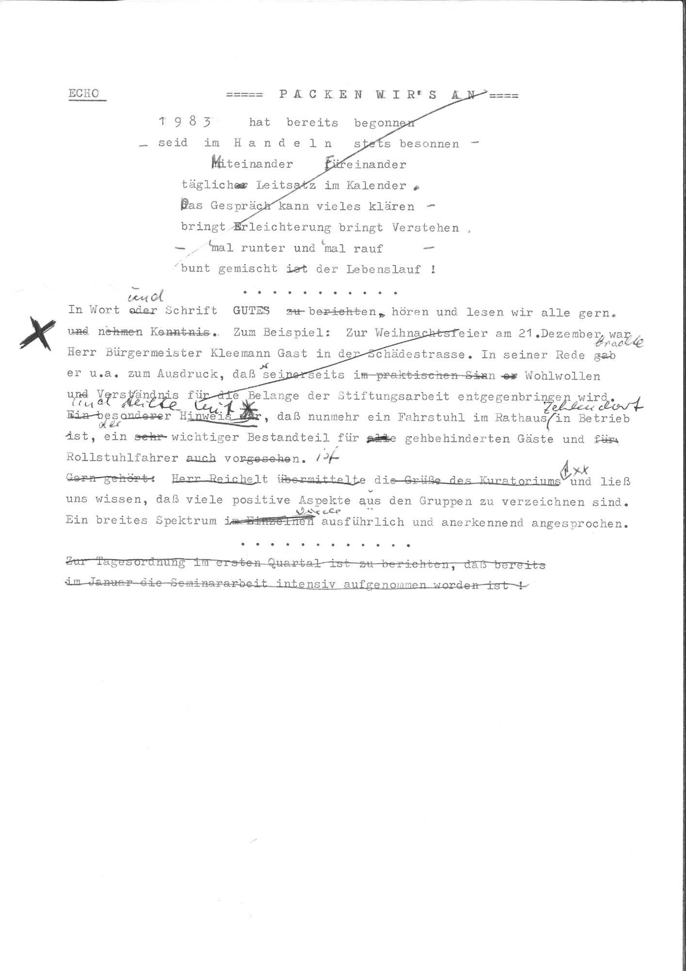Scan einer Text-Korrektur.