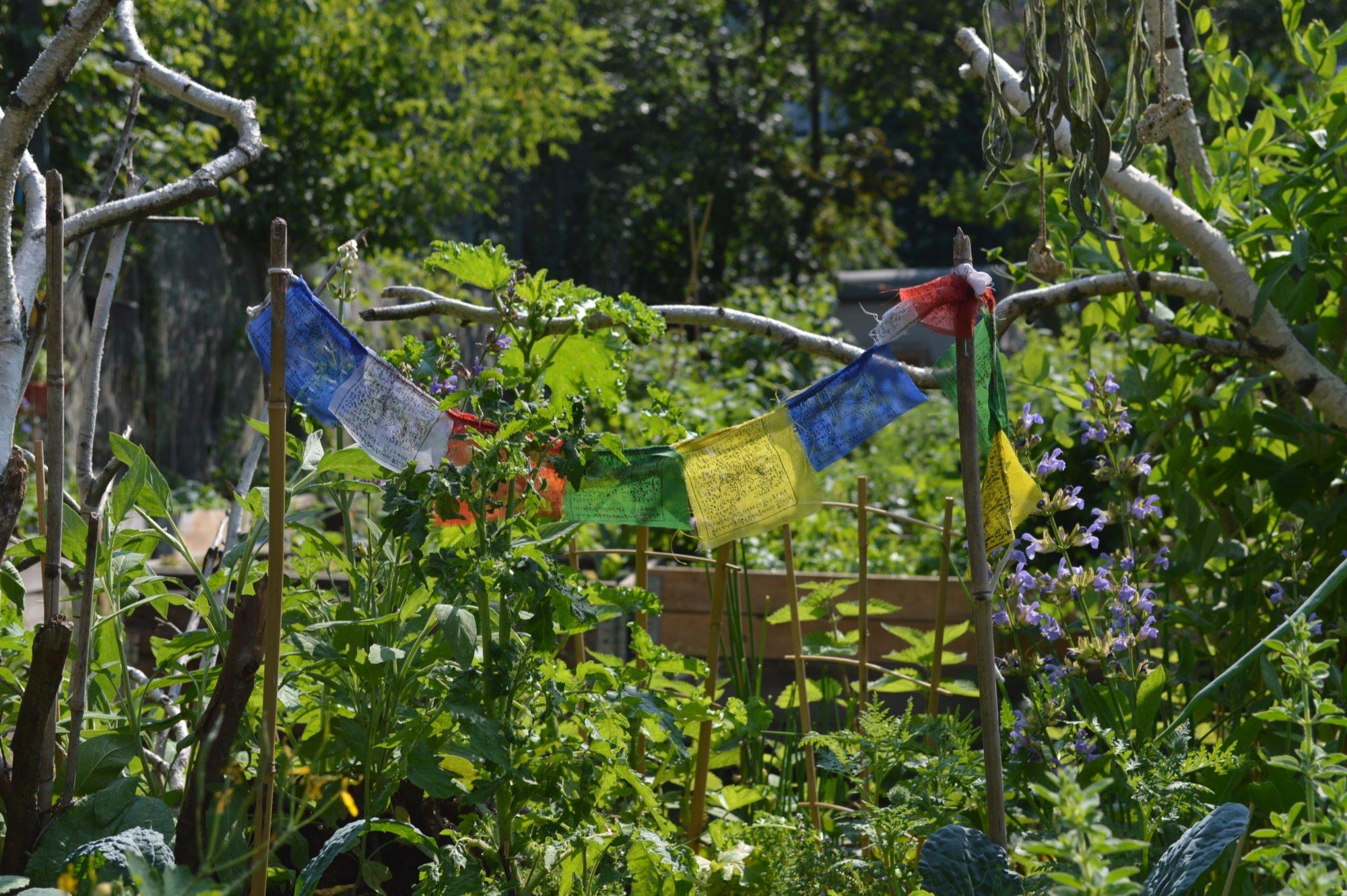 Gartenansicht mit viel Grün und einer bunten Wimpelkette, die zwischen zwei Stöcken befestigt ist