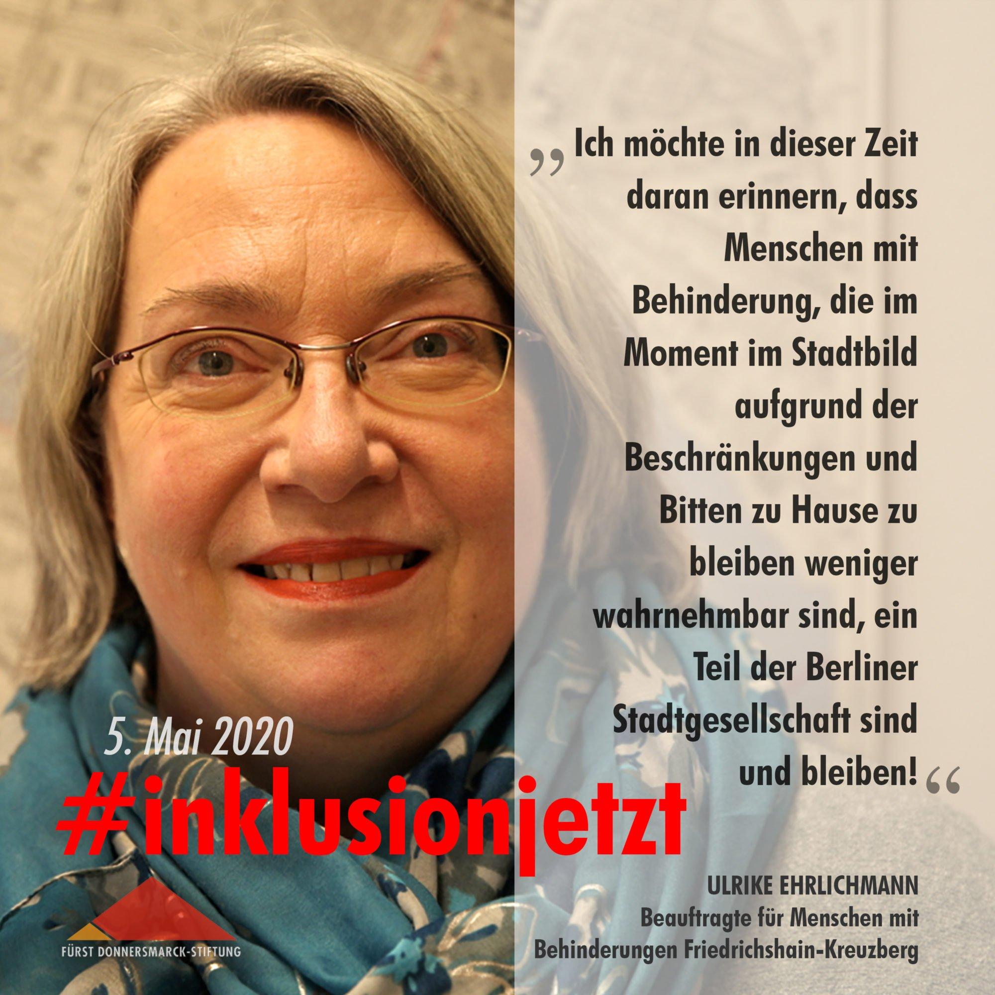 Text: Ich möchte in dieser Zeit daran erinnern, dass Menschen mit Behinderung, die im Moment im Stadtbild aufgrund der Beschränkungen und Bitten zu Hause zu bleiben weniger wahrnehmbar sind, ein Teil der Berliner Stadtgesellschaft sind und bleiben!
