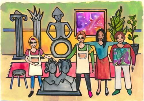 Eine Illustration die Menschen mit unterschiedlichen Behinderungen in einem Kunstatelier zeigt.