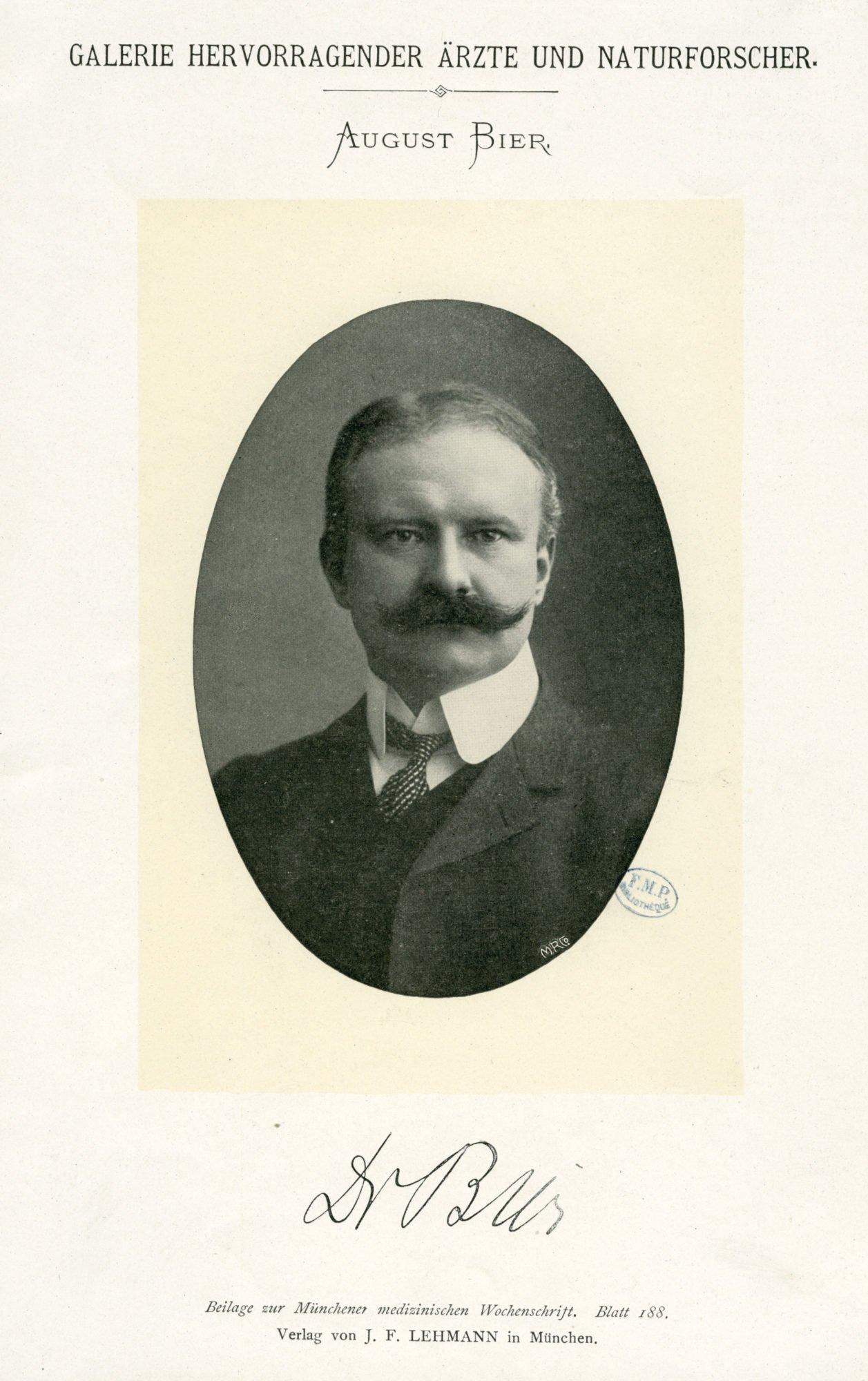 Ein Porträt und die Unterschrift von August Bier aus einem Fachjournal.