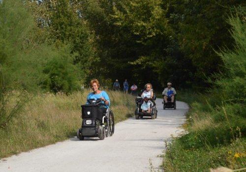 Rollstuhlfahrerinnen und Rollstuhlfahrer auf einem Fahrradweg durch das Wuhletal.