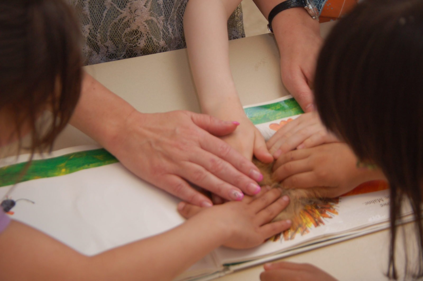 Die Hand von Silja Korn und mehrere Kinderhände liegen über einem Bild aufeinander.