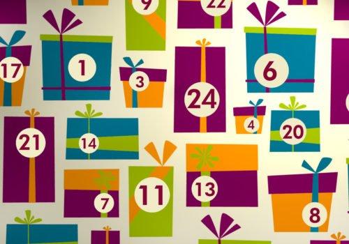 Grafik: Bunte stilisierte Geschenke, die unterschiedlich nummeriert sind
