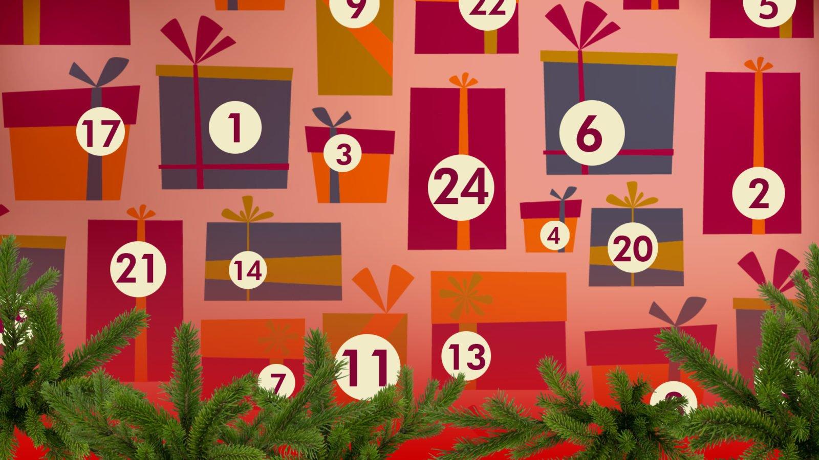 Grafik: Bunte stilisierte Geschenke, die unterschiedlich nummeriert sind, am unteren Bildrand Tannenzweige