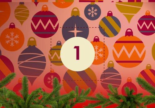 Grafik: Bunter Weihnachtsschmuck, in der Bildmitte die Zahl 1