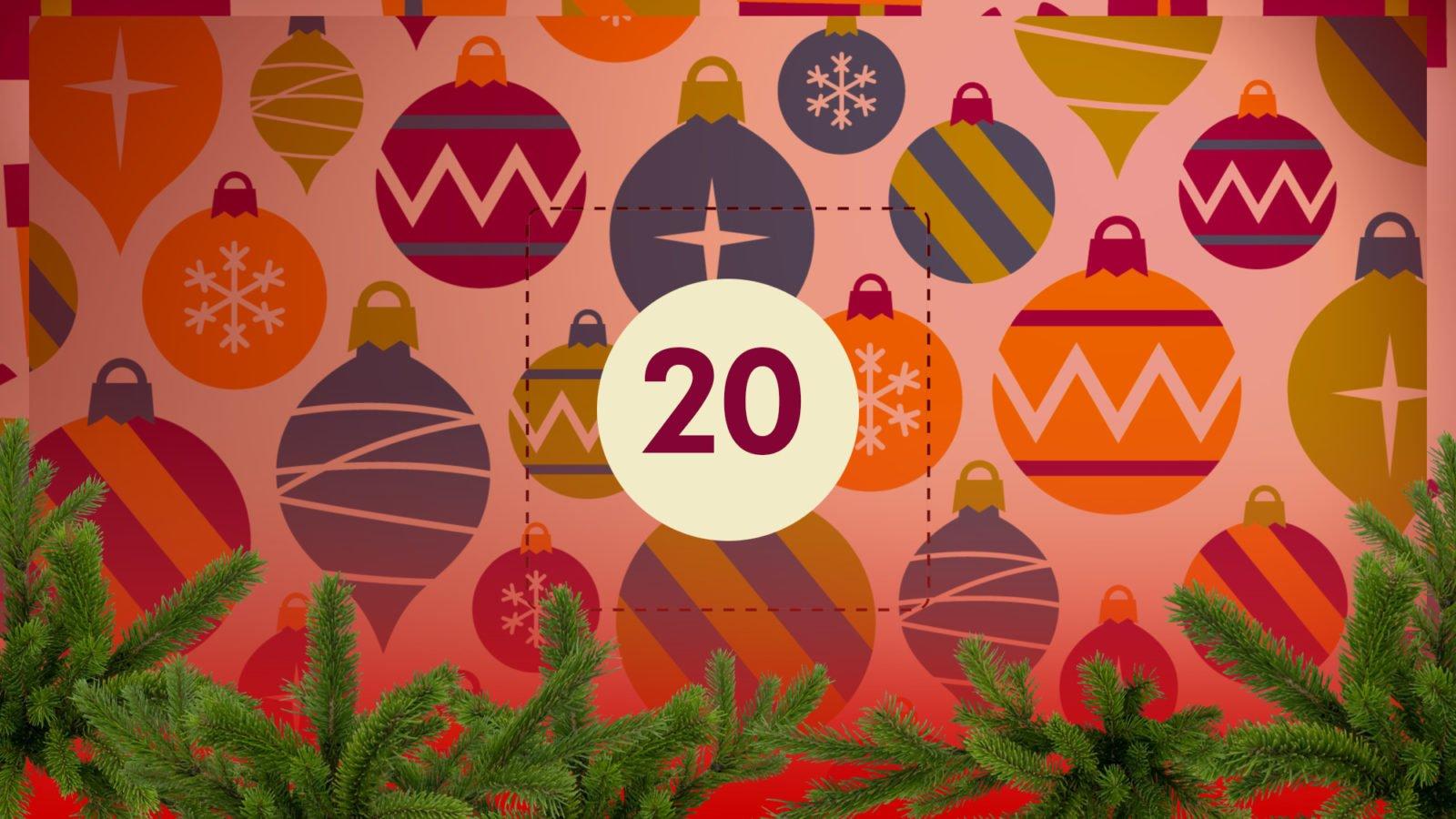 Grafik: Bunter Weihnachtsschmuck, in der Bildmitte die Zahl 20