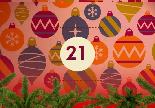 Grafik: Bunter Weihnachtsschmuck, in der Bildmitte die Zahl 21