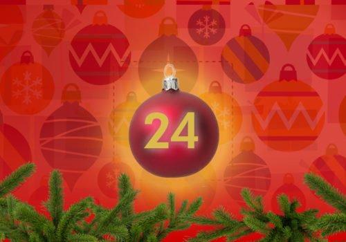 Grafik: Bunter Weihnachtsschmuck, in der Bildmitte die Zahl 24