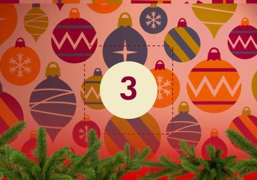 Grafik: Bunter Weihnachtsschmuck, in der Bildmitte die Zahl 3