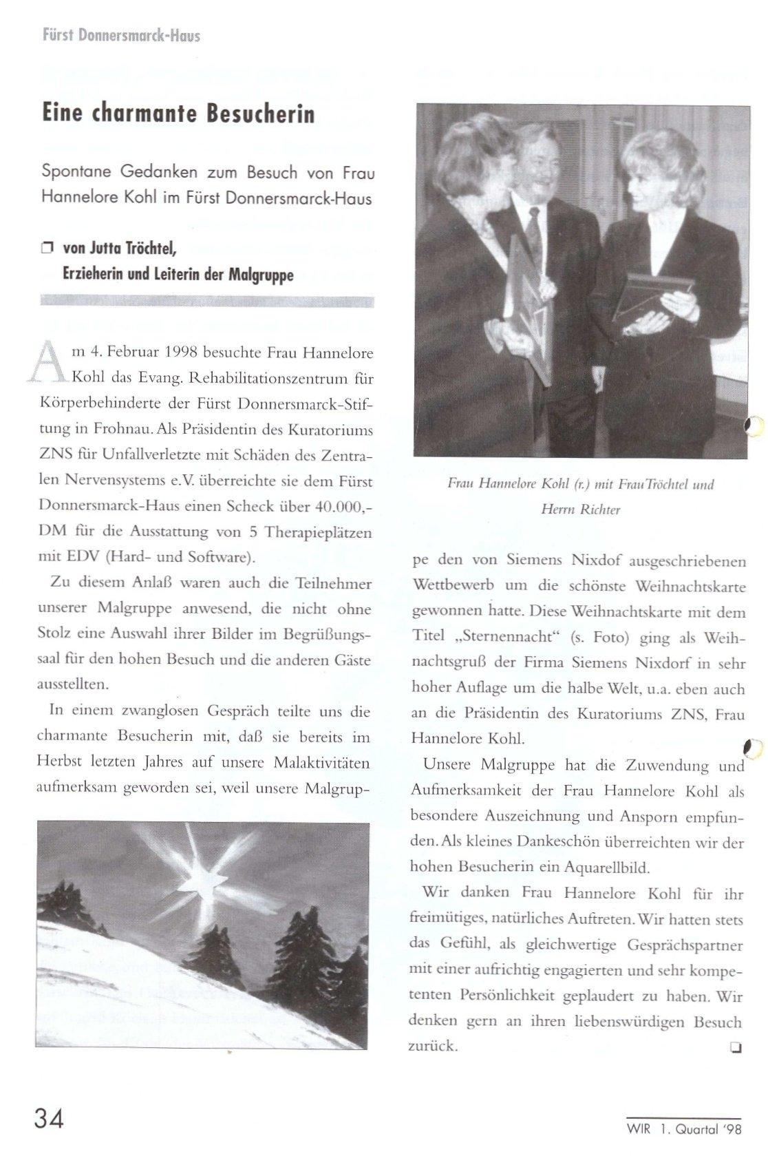 """Beitrag aus der Zeitschrift Wir zum Besuch von Hannelore Kohl (Ausgabe Nummer 1, 1998) mit dem Titel: """"Eine charmante Besucherin""""."""