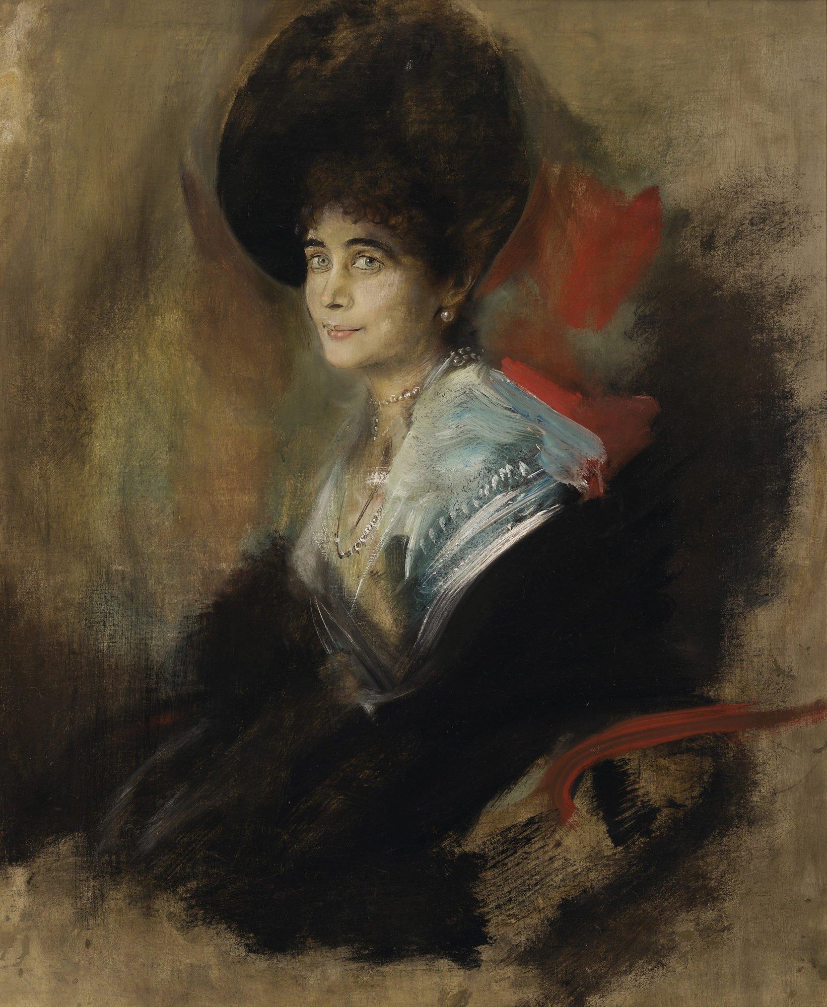 Ein Ölgemälde, dass ein Porträt von Katharina von Donnersmarck zeigt.