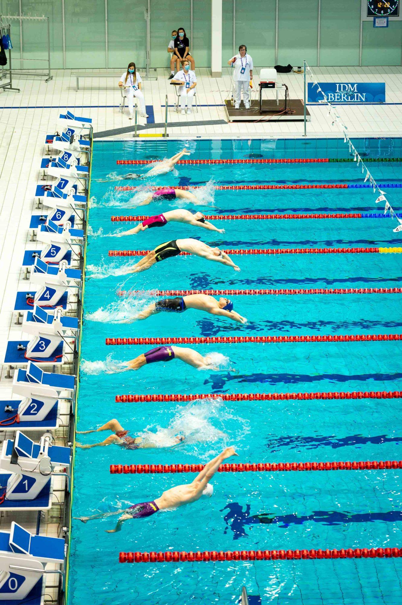 Schwimmer beim Start auf der IDM 2020