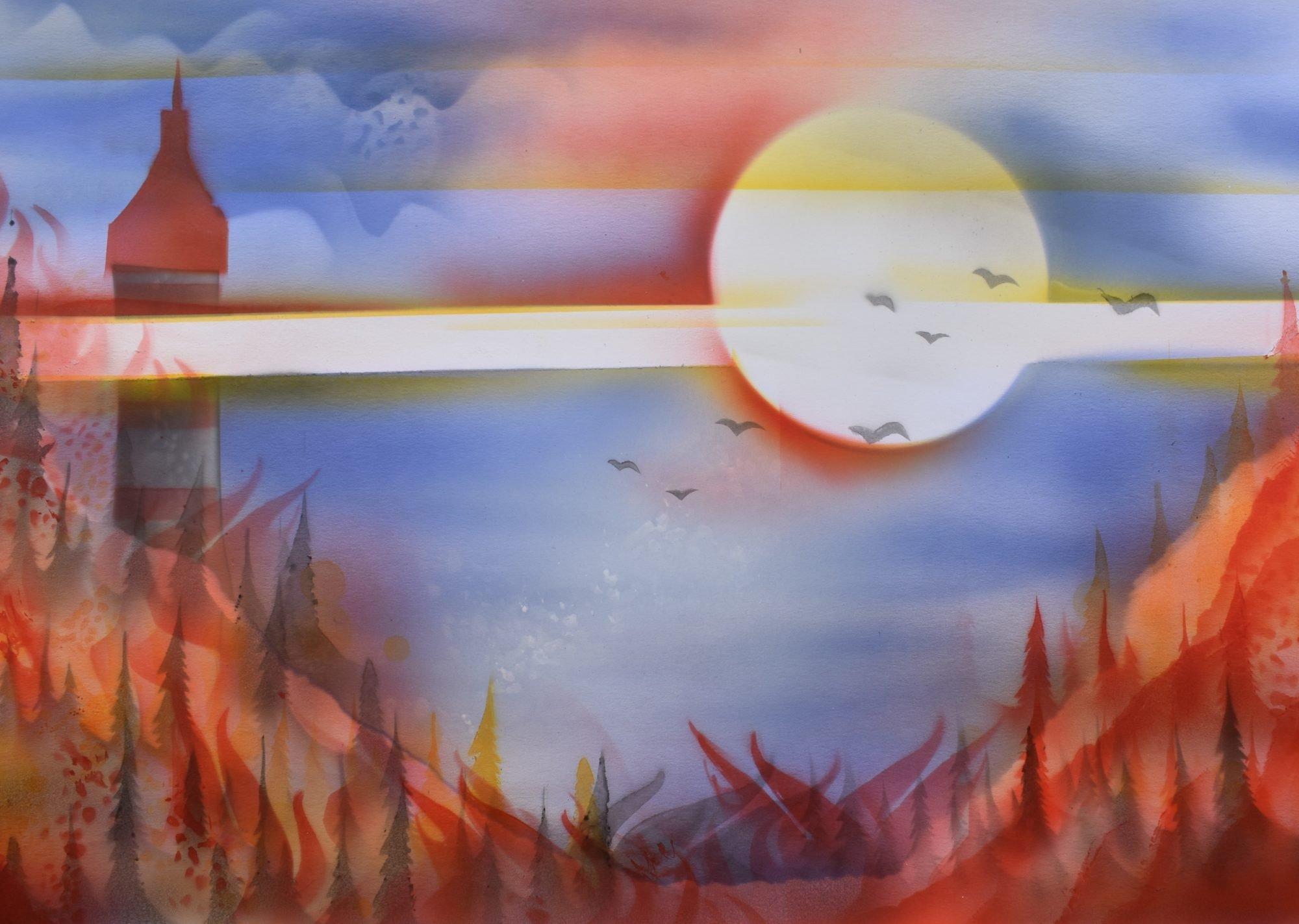 Airbrush Gemälde eines brennenden Waldes. Im Hintergrund die Sonne, deren Strahlen horizontal über dem Brand liegen und ein Turm mitten im Wald.
