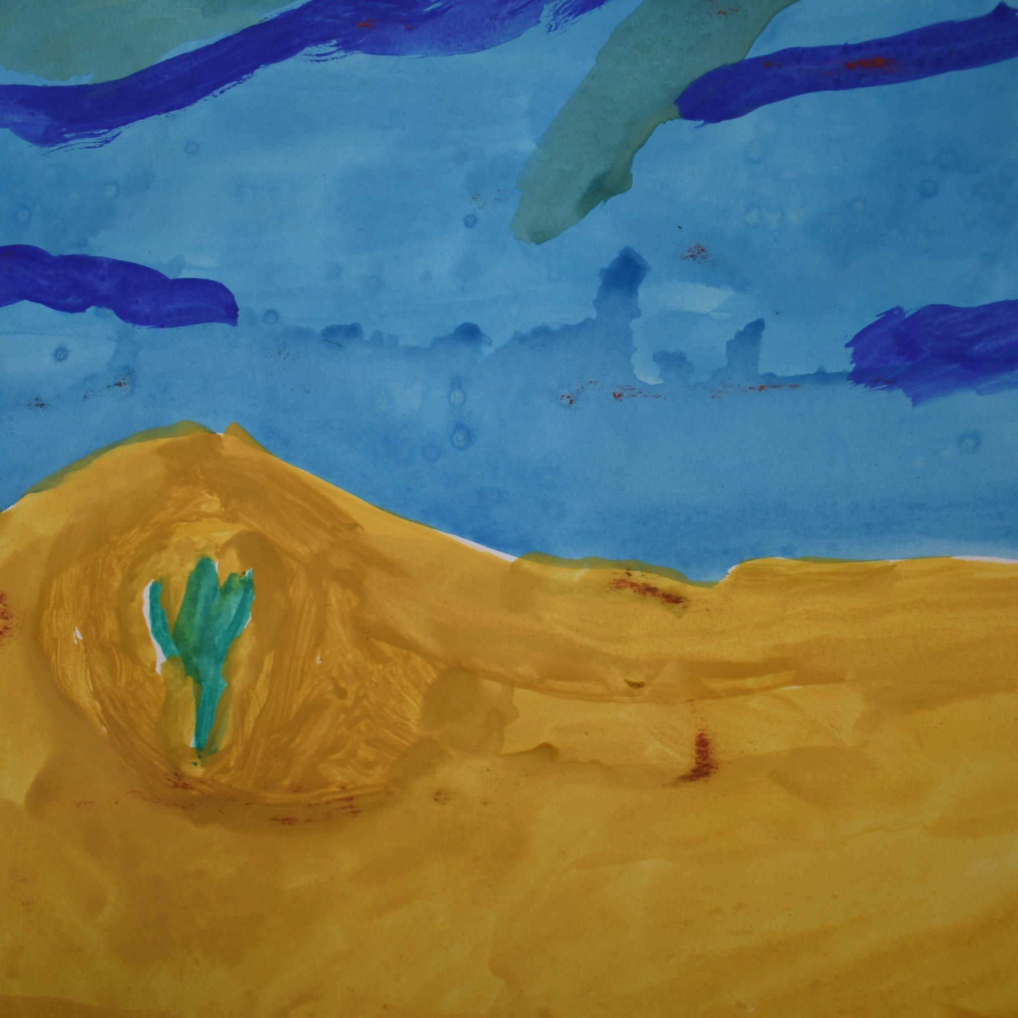 Aquarell einer Wüstenlandschaft.