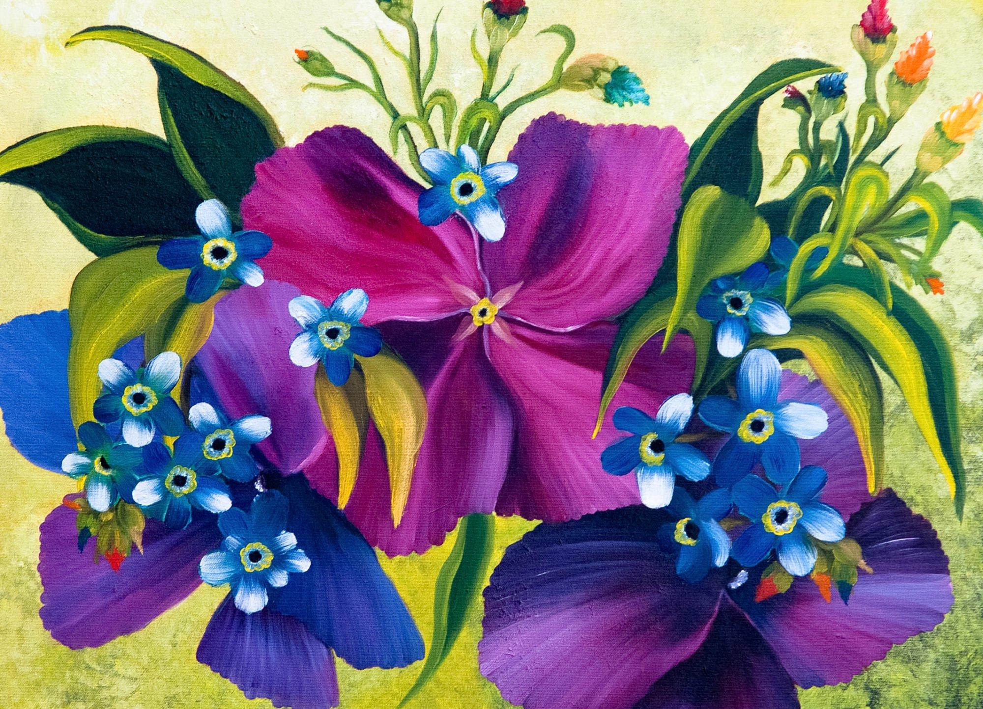 Zu sehen sind mehere Blumen in unterschiedlichen Tönen von Violett bis Dunkelblau. Sie sind in der Vernissage ab 29. März 2020 in der Villa Donnersmarck zu sehen.
