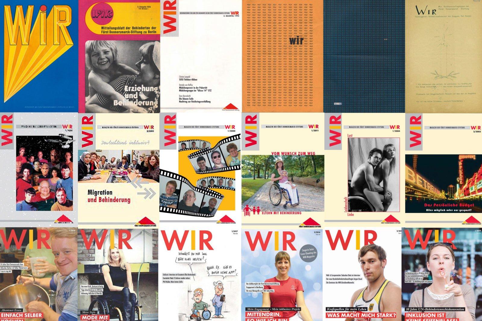 Viele unterschiedliche Titelbilder von WIR Ausgaben aus über 65 Jahren,