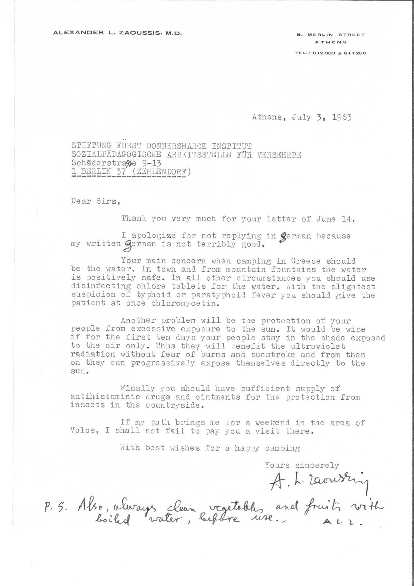 Scan des Briefes des Orthopäden Dr. Alexander L. Zaoussis.