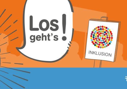 Banner der Aktion Mensch: Aufschrift Los geht es! Aktionstag 5. Mai. #InklusionJetzt