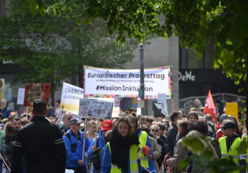 Der Protesttag 5. Mai im Jahr 2019: Szene der Demonstration in Berlin.