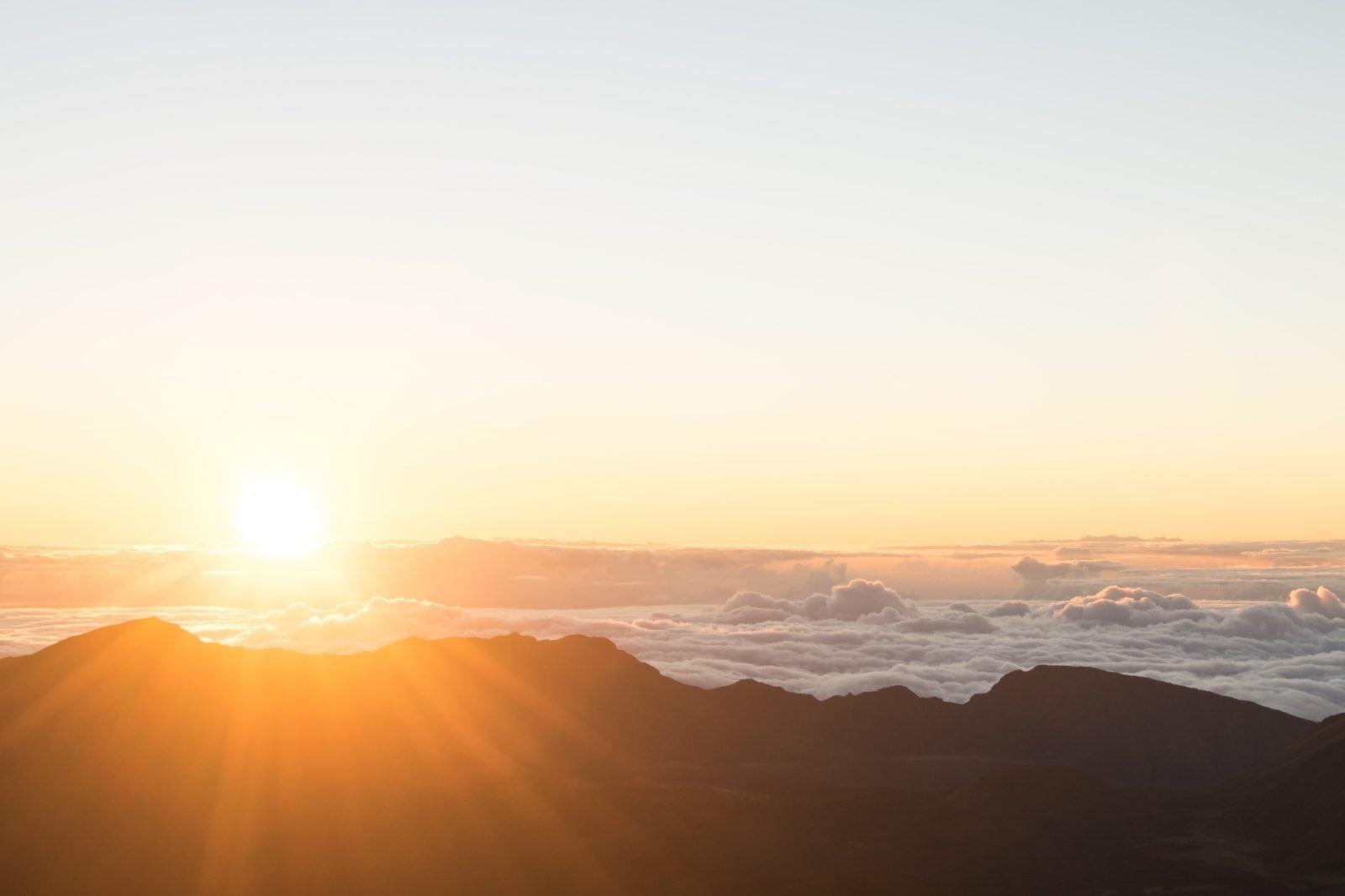Ein Sonnenaufgang über Bergen.