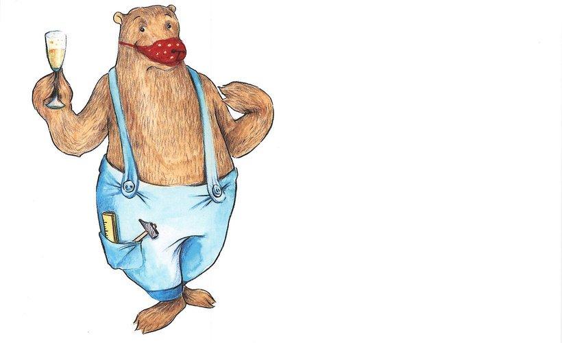 Ein gezeichneter Bär mit blauer Latzhose und einem Glas Sekt in der Hand trägt einen roten Mundschutz.