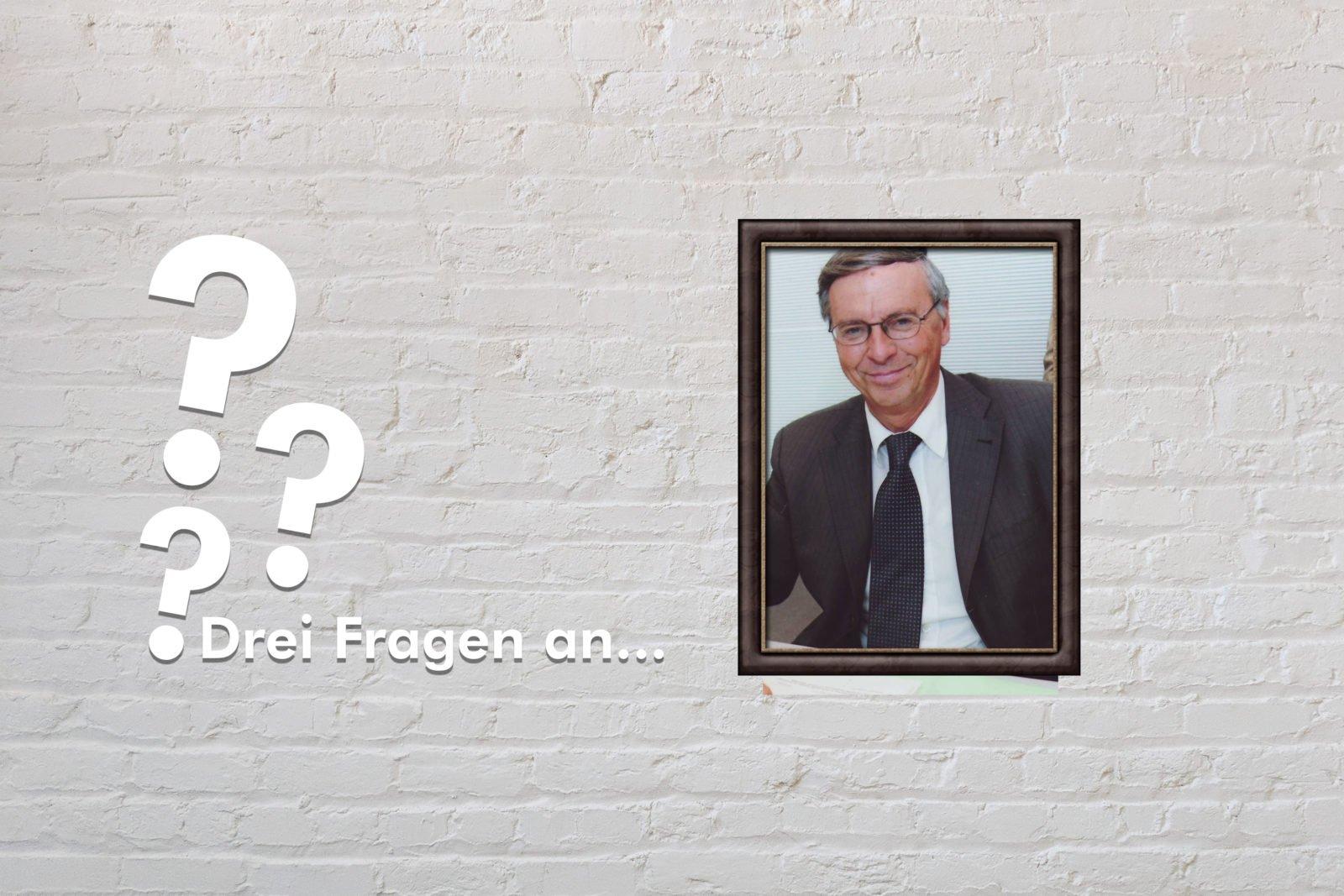 Zu sehen ist das Cover von drei Fragen an Wolfgang Bosbach. Wolfgang Bosbach ist im Portrait in einem Rahmen zu sehen