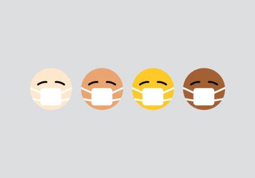 Divere Emojis mit unterschiedlicher Hautfarbe. Alle tragen Mundschutz,