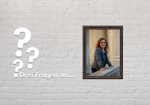 Fotomontage: Eine weiße Steinwand - darauf ein Rahmen, in den ein Bild von Fatoş Topaç montiert ist, daneben der Schriftzug Drei Fragen an... und drei Fragezeichen.