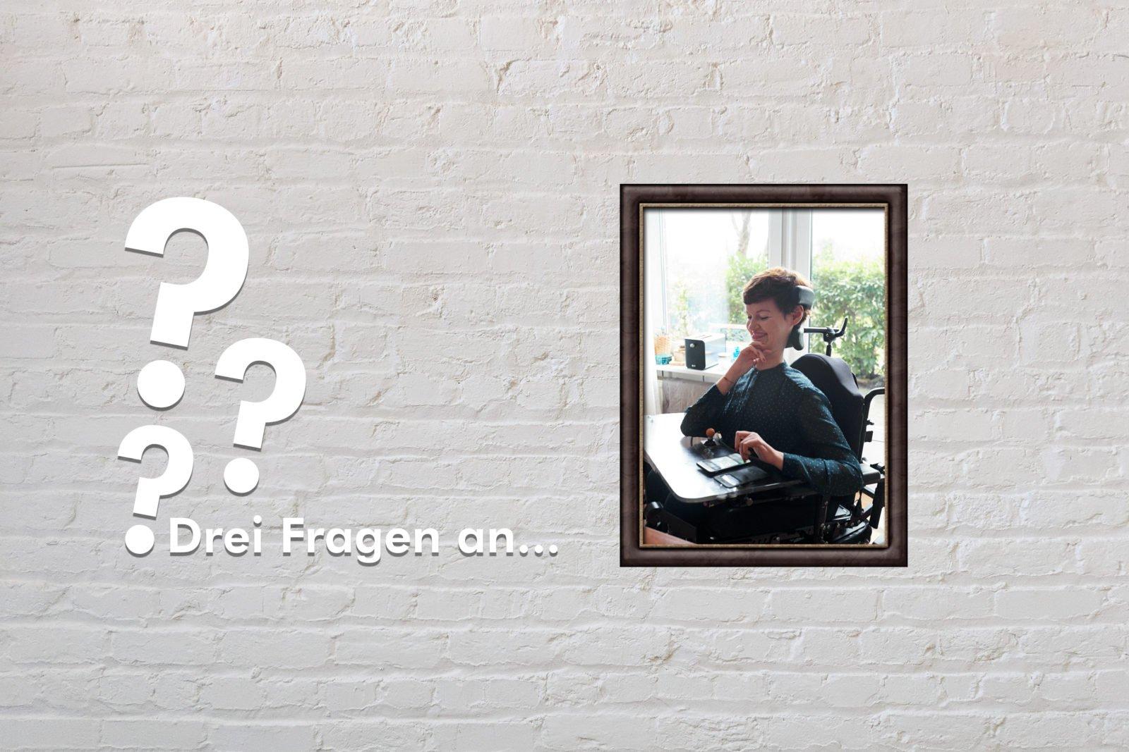 Fotomontage: Eine weiße Steinwand - darauf ein Rahmen, in den ein Bild von Anastasia Umrik montiert ist, daneben der Schriftzug Drei Fragen an... und drei Fragezeichen.