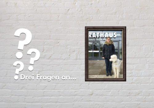 Fotomontage: Eine weiße Steinwand - darauf ein Rahmen, in den ein Bild von Regina Vollbrecht montiert ist, daneben der Schriftzug Drei Fragen an... und drei Fragezeichen.