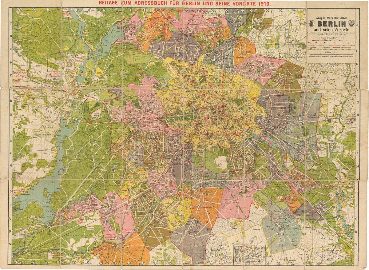 Ein Scan einer alten Karte Groß-Berlins.
