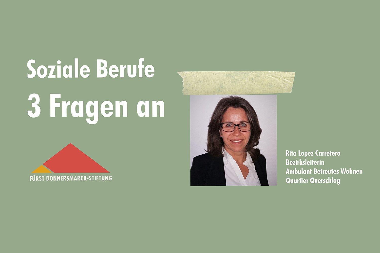 Ein Porträtfoto von Rita Lopez Carretero auf grünem Hintergrund, daneben das Stiftungslogo und der Schriftzug: Soziale Berufe 3 Fragen an