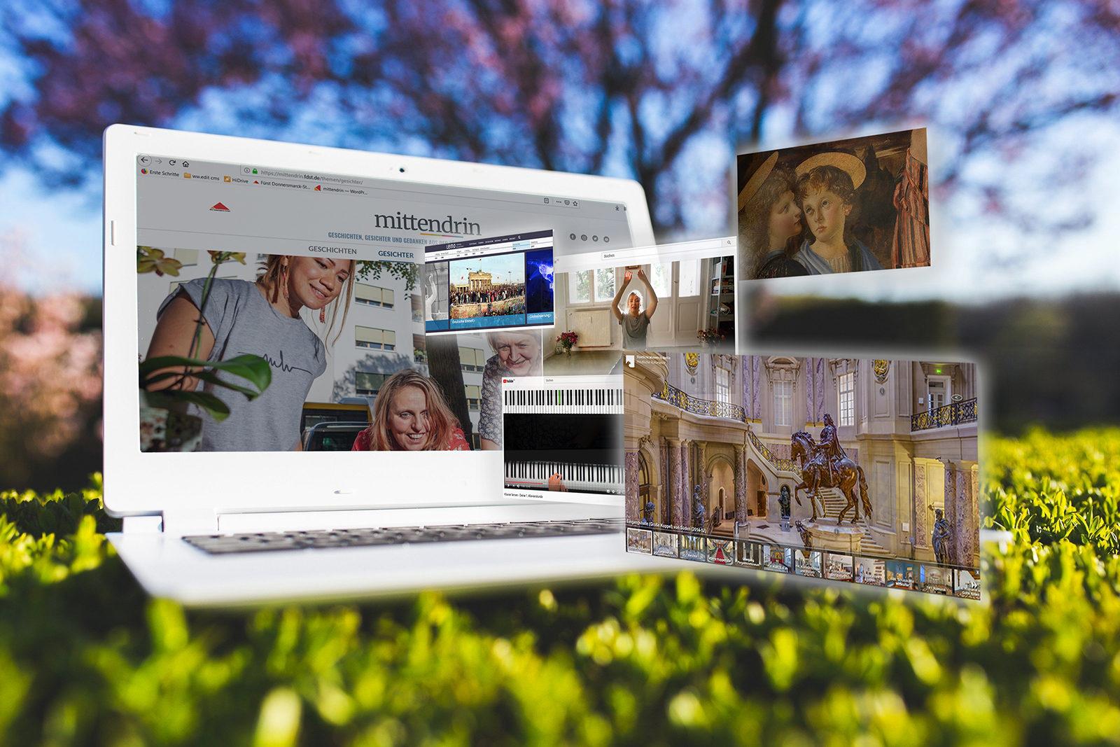Bildcollage: Ein Laptop auf einer blühenden Wiese, im Hintergrund ein Baum; aus dem Laptopb schweben sechs geöffnete Browserfenster mit Bildern auf den Betrachter zu