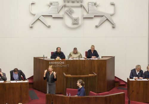 Ansicht eines Parlamentsdebatte in Bremen