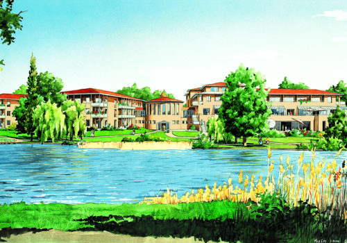 Entwurfszeichnung des Seehotel Rheinsberg