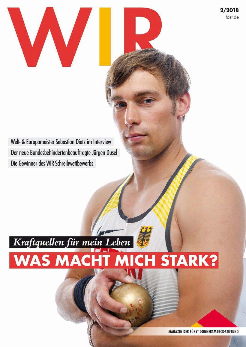 Das Titelbild des Wir-Magazin 2/2018 mit Sebastian Dietz auf dem Titelbild.
