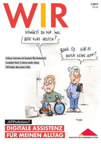 Das Titelbild der WIR 1/2017 mit einer Karikatur von Phil Hubbe.